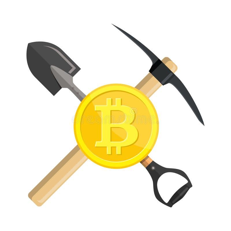 金黄bitcoin和镐 皇族释放例证