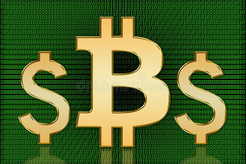 金黄Bitcoin对美元标志-数字式货币 免版税库存照片