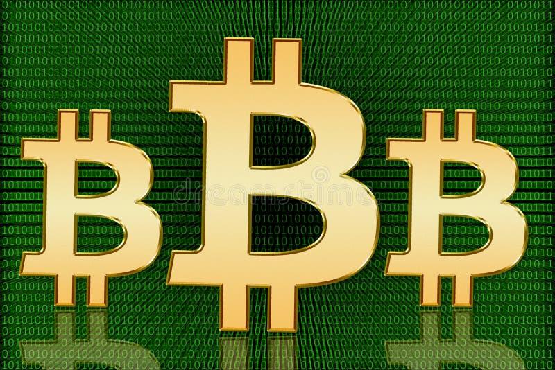 金黄Bitcoin数字式标志-数字式货币 免版税库存照片