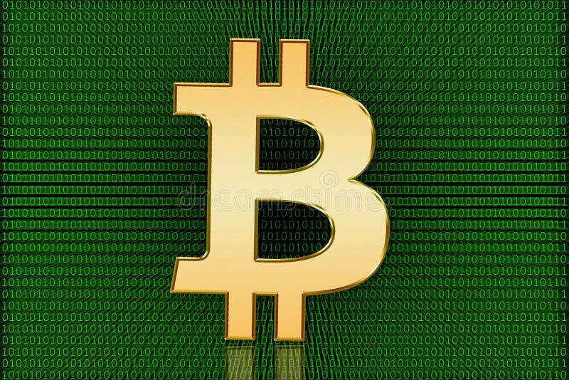 金黄Bitcoin数字式标志-数字式货币 免版税库存图片