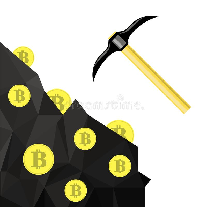 金黄bitcoin标志 与硬币和镐的隐藏货币采矿 皇族释放例证