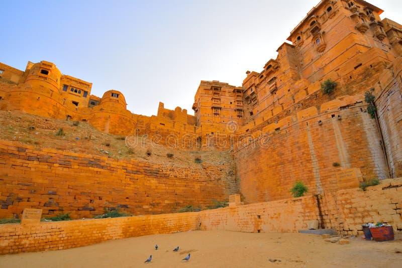 金黄Jaisalmer堡垒Architechture  免版税图库摄影