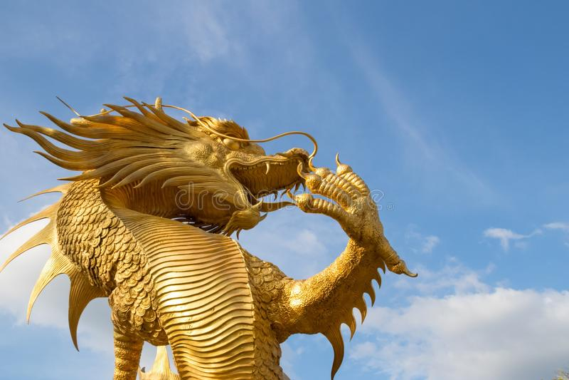 金龙雕象美丽的牵强的美丽的背景天空飞行 图库摄影