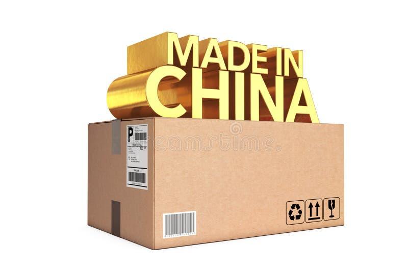 金黄中国制造签署小包箱子 3d翻译 库存例证