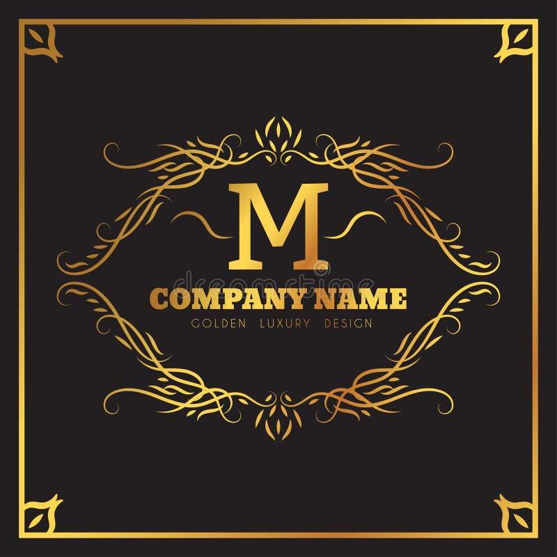 金黄书法商标模板典雅的华丽 组合图案M信件象征 葡萄酒装饰品线 豪华事务 向量例证