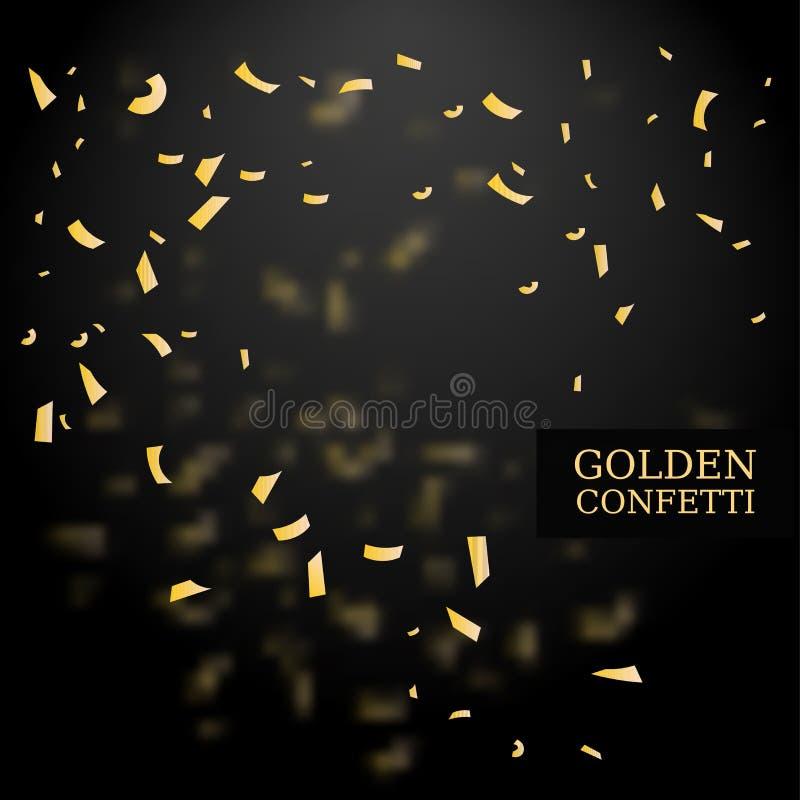 金黄五彩纸屑 金子闪烁作用 设计要素例证图象向量 在黑背景的传染媒介例证 向量例证