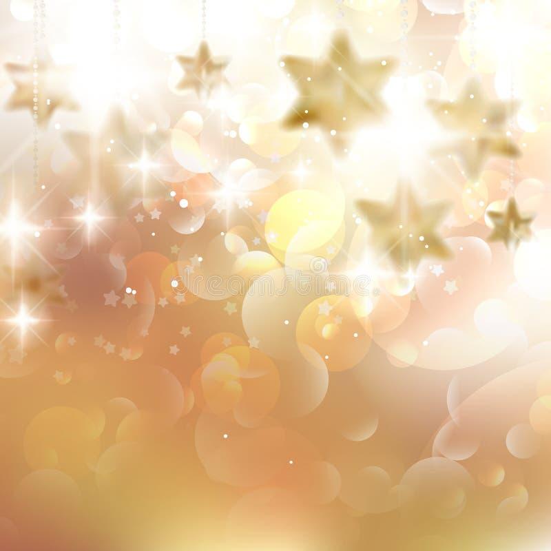 金黄光和星圣诞节背景。 库存例证