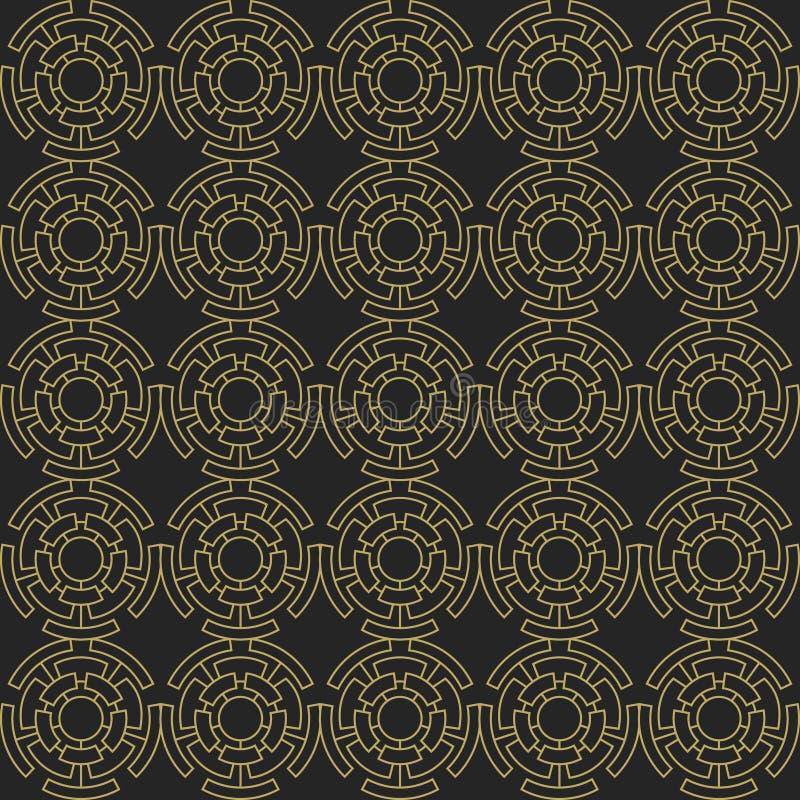 金黄几何无缝的装饰品 向量 库存例证