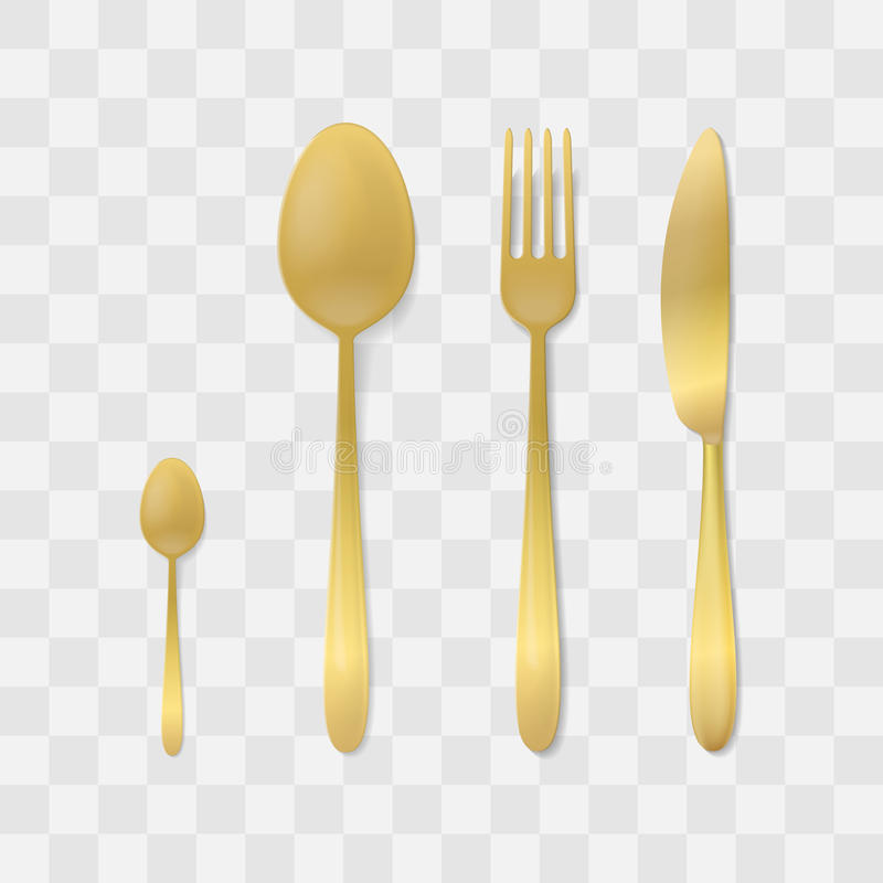 金黄刀叉餐具集 银色叉子、匙子和刀子 顶视图扁平的餐具传染媒介 制表设置 皇族释放例证