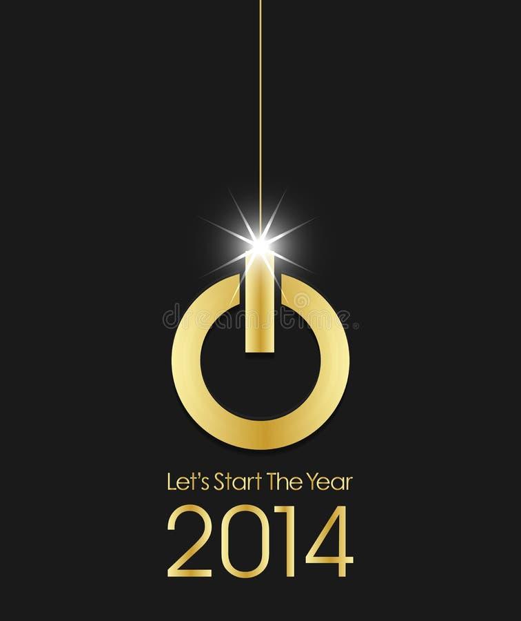 金黄力量按钮圣诞节球2014年 向量例证