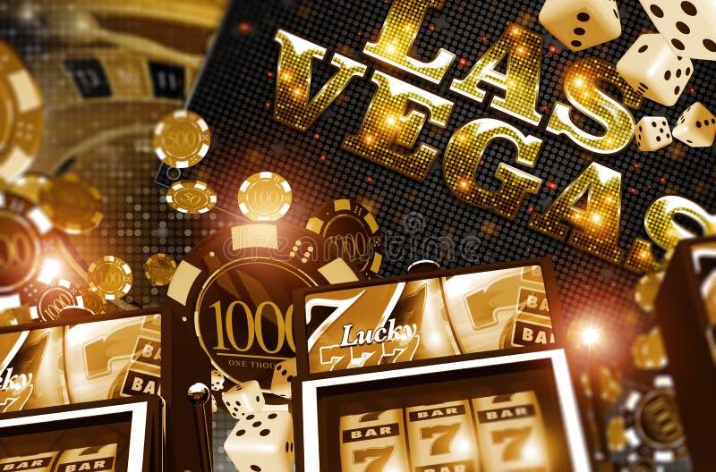 金黄维加斯赌博娱乐场概念 皇族释放例证