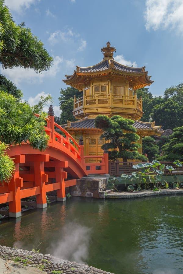 金黄南连家庭院的柚木树木塔在香港 免版税图库摄影