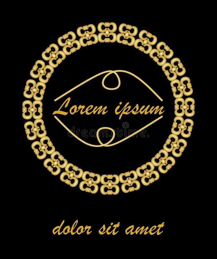 金黄压印的葡萄酒框架 与地方的空白的金黄圈子框架自己的消息的 豪华盖子的装饰 皇族释放例证
