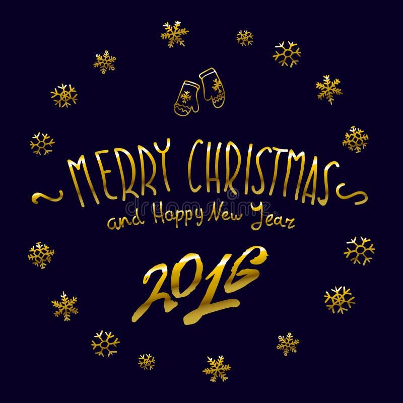 金黄发光的圣诞快乐和新年好2016年在上写字的收藏 也corel凹道例证向量 向量例证