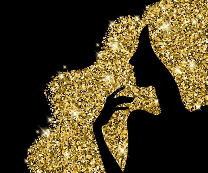 金黄头发美好的女孩剪影传染媒介例证 皇族释放例证