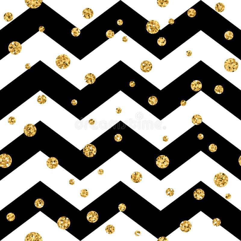 金黄圆点无缝的样式 金五彩纸屑闪烁之字形黑色1 向量例证