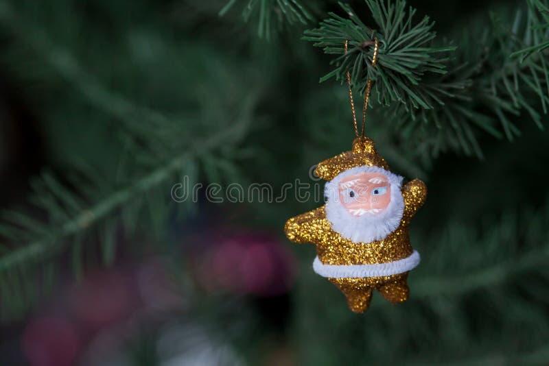 金黄圣诞老人 库存图片