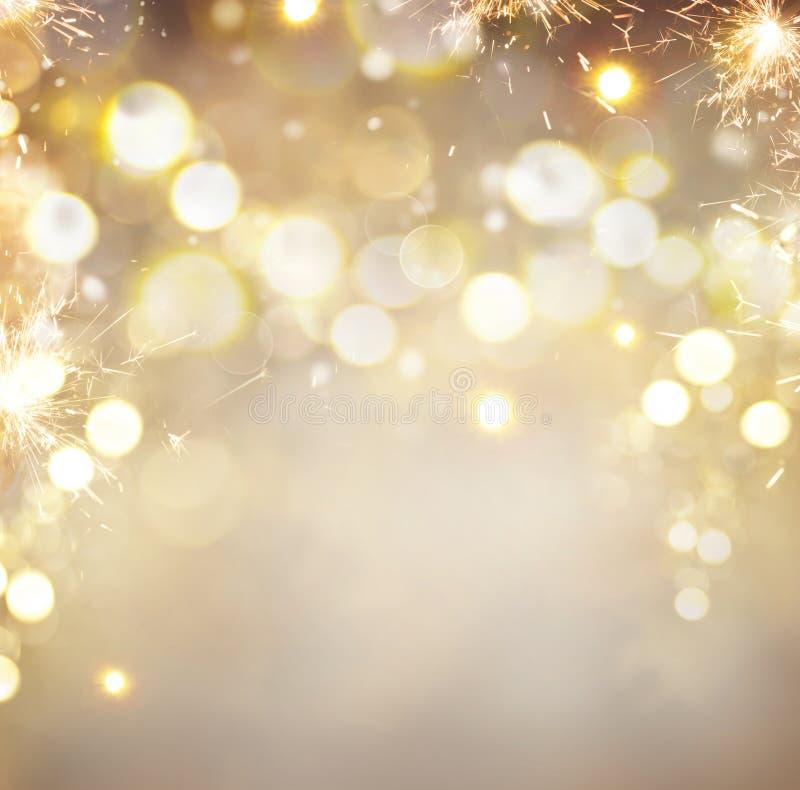 金黄圣诞节假日摘要背景 库存照片