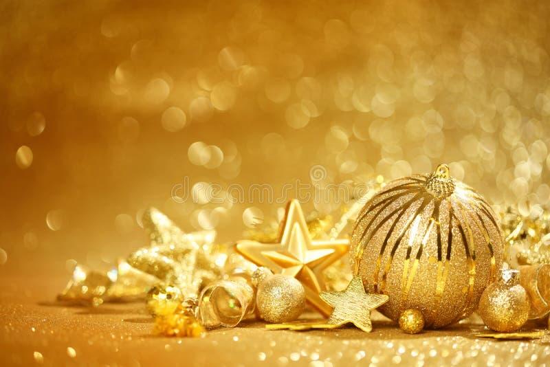 金黄圣诞节背景 库存图片