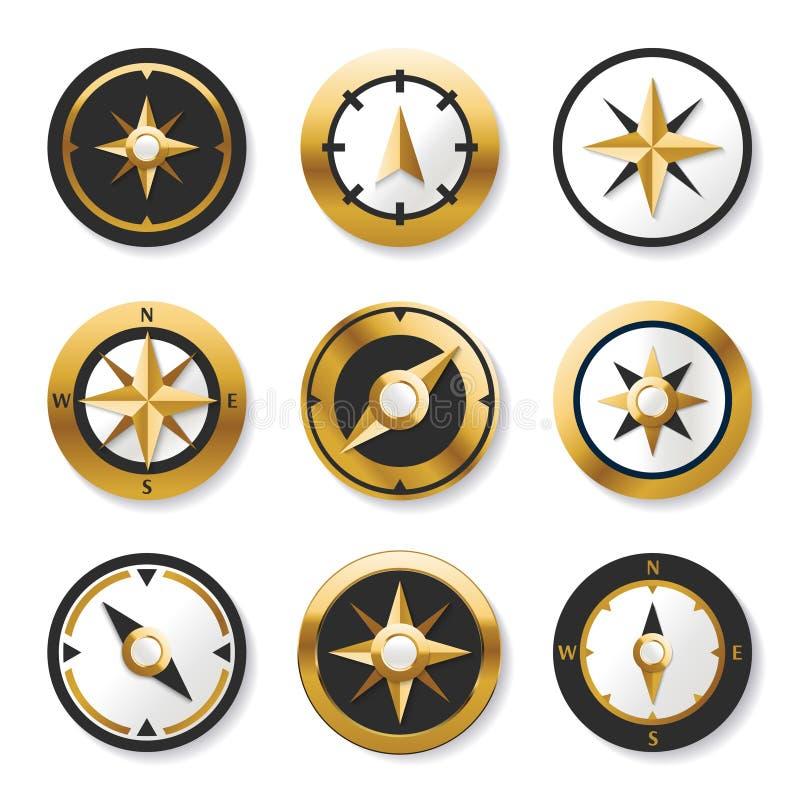 金黄在集合的风玫瑰金黄指南针 库存例证