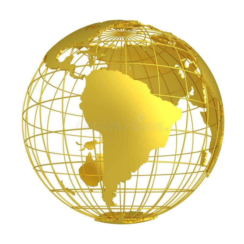 金黄地球行星3D地球 向量例证