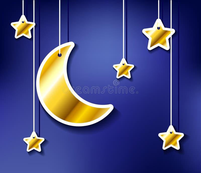 金黄垂悬的月亮和星 库存例证
