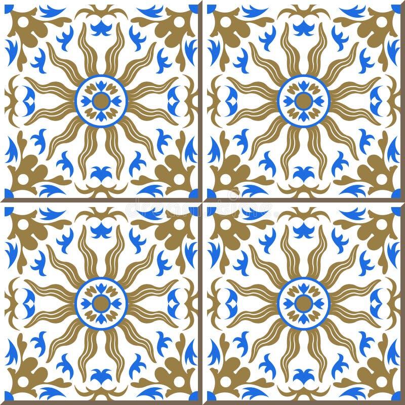 金黄太阳蓝色万花筒,摩洛哥人葡萄酒无缝的墙壁瓦片,葡萄牙语 库存例证