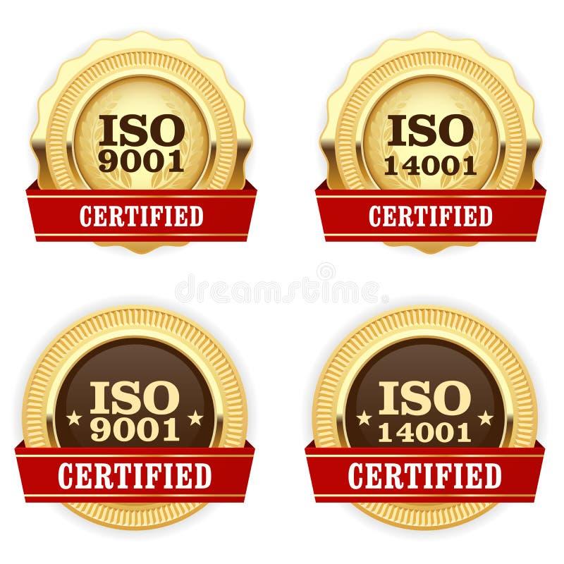 金黄奖牌ISO 9001证明了-质量徽章 向量例证