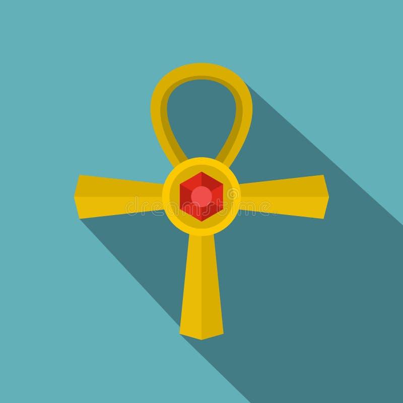 金黄安赫标志象,平的样式 皇族释放例证