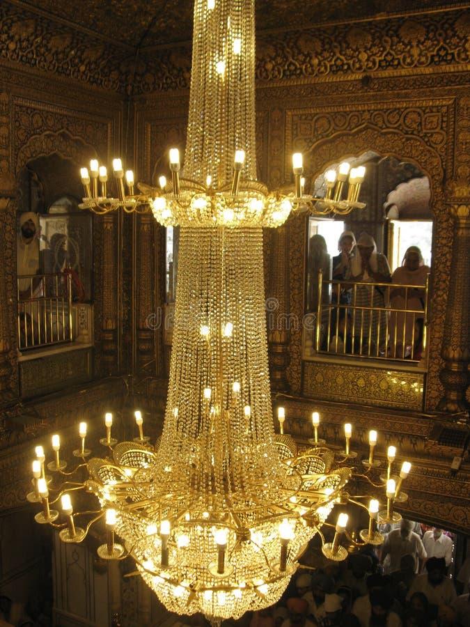 金黄寺庙,阿姆利则,旁遮普邦,印度里面看法  库存图片