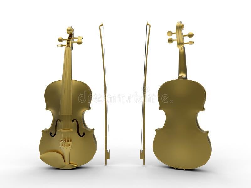 金黄小提琴前面和后面 向量例证