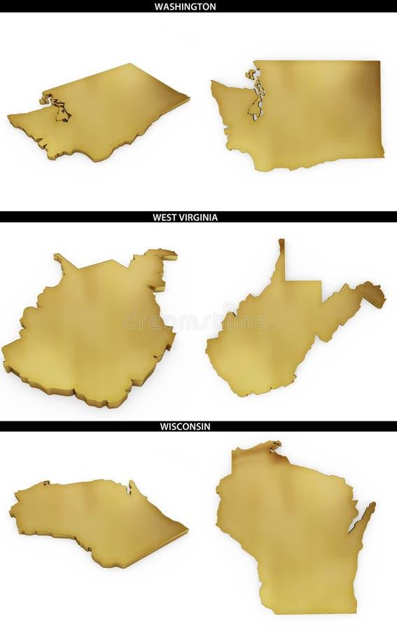 金黄形状的一汇集从美国美国州华盛顿,西维吉尼亚,威斯康辛的 向量例证