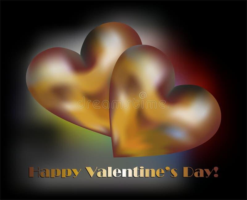 金黄心脏和愉快的情人节 库存例证