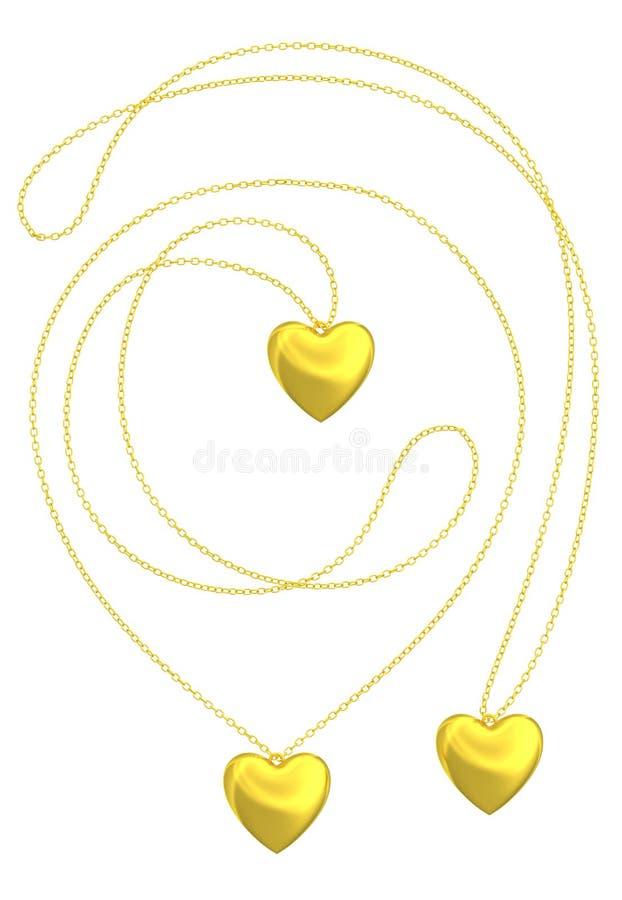 金黄心脏垂饰被隔绝的项链 向量例证