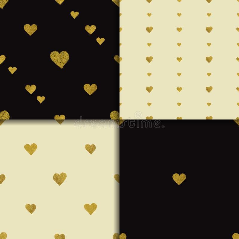 Download 金黄心脏无缝的样式集合 向量例证. 插画 包括有 礼品, 五彩纸屑, 靠山, beautifuler, 重复 - 72353851