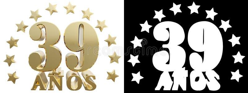 金黄数字三十九和年的词,装饰用星 翻译从西班牙人 3d例证 向量例证