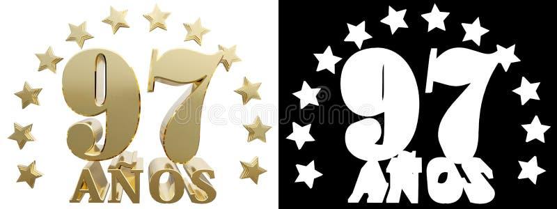 金黄数字九十七和年的词,装饰用星 翻译从西班牙人 3d例证 皇族释放例证