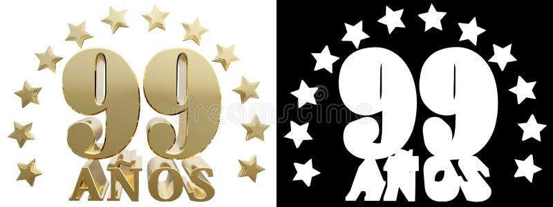 金黄数字九十九和年的词,装饰用星 翻译从西班牙人 3d例证 向量例证