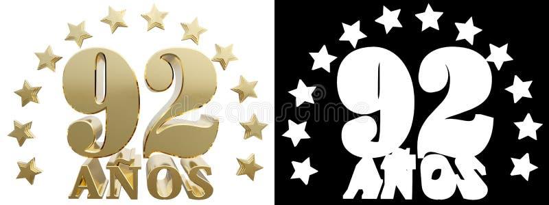 金黄数字九十二和年的词,装饰用星 翻译从西班牙人 3d例证 皇族释放例证
