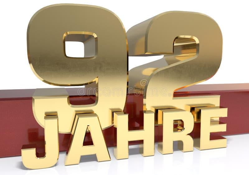 金黄数字九十二和年的词 翻译为 向量例证