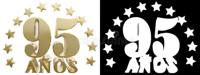 金黄数字九十五和年的词,装饰用星 翻译从西班牙人 3d例证 向量例证