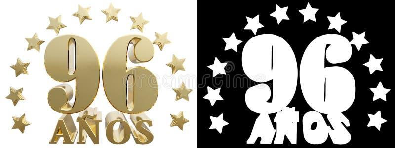 金黄数字九十六和年的词,装饰用星 翻译从西班牙人 3d例证 向量例证