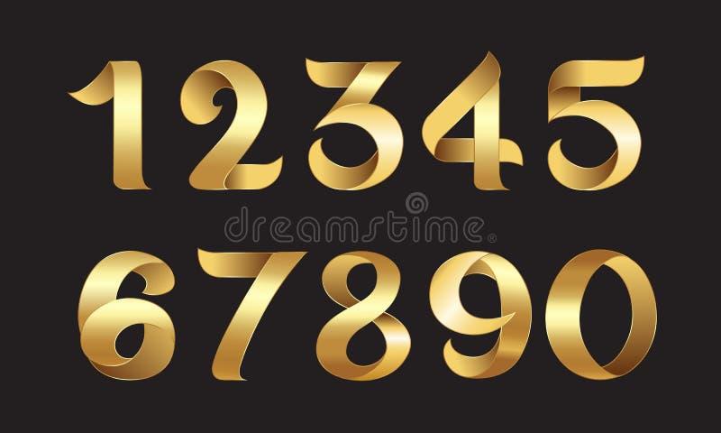 金黄数字 向量例证