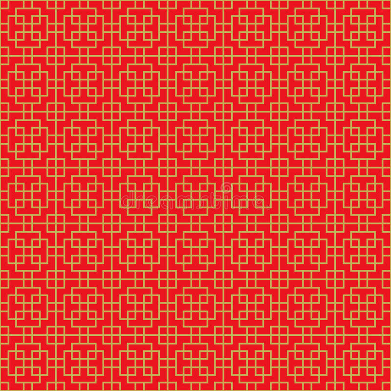 金黄无缝的中国发怒方形的线几何窗口网眼图案样式背景 向量例证