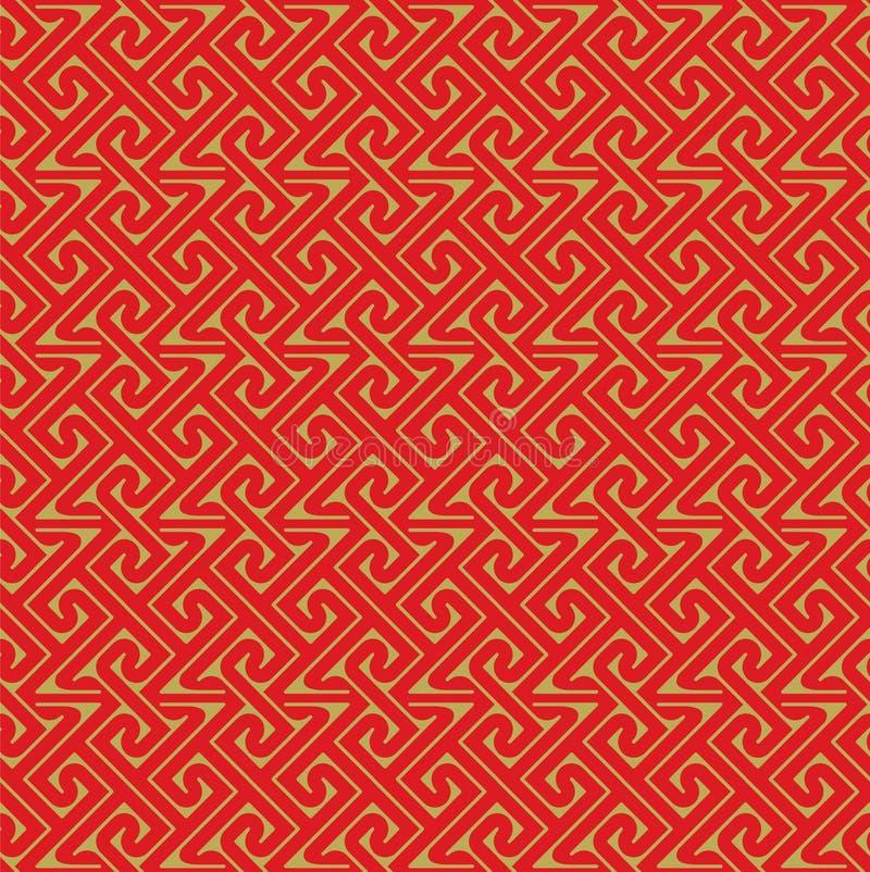 金黄无缝的中国式螺旋线几何样式背景 向量例证