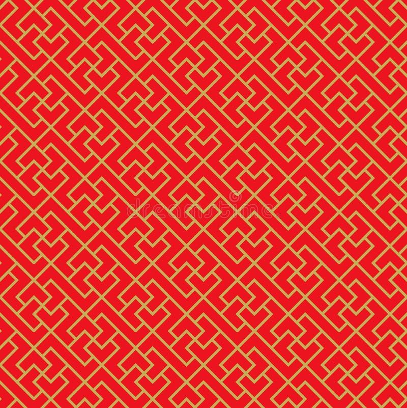 金黄无缝的中国窗口网眼图案十字架几何线样式背景 向量例证