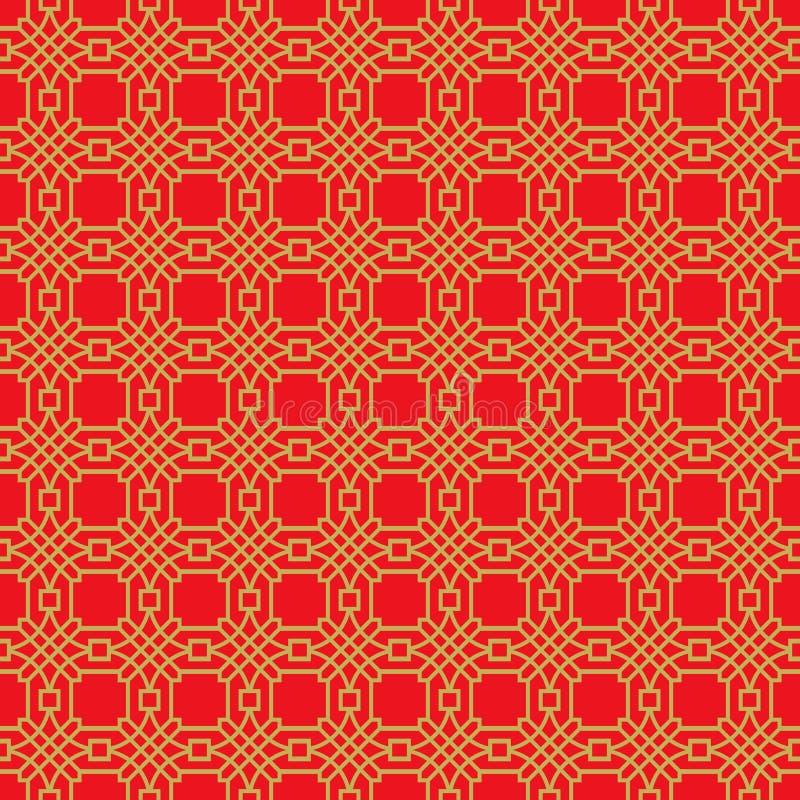 金黄无缝的中国窗口网眼图案格子多角形圆的样式背景 皇族释放例证