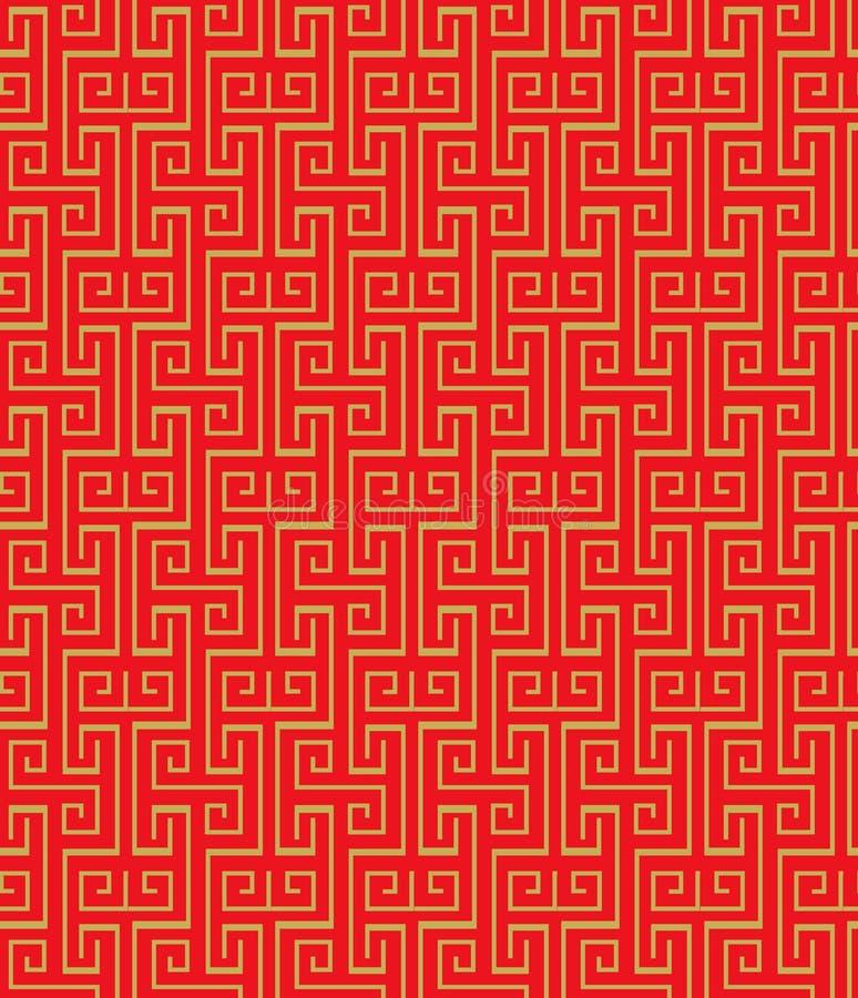 金黄无缝的葡萄酒中国传统窗口网眼图案正方形螺旋样式背景 向量例证