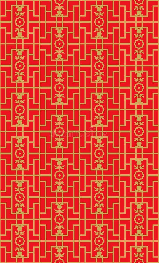 金黄无缝的葡萄酒中国式窗口网眼图案正方形几何花纹花样背景 向量例证