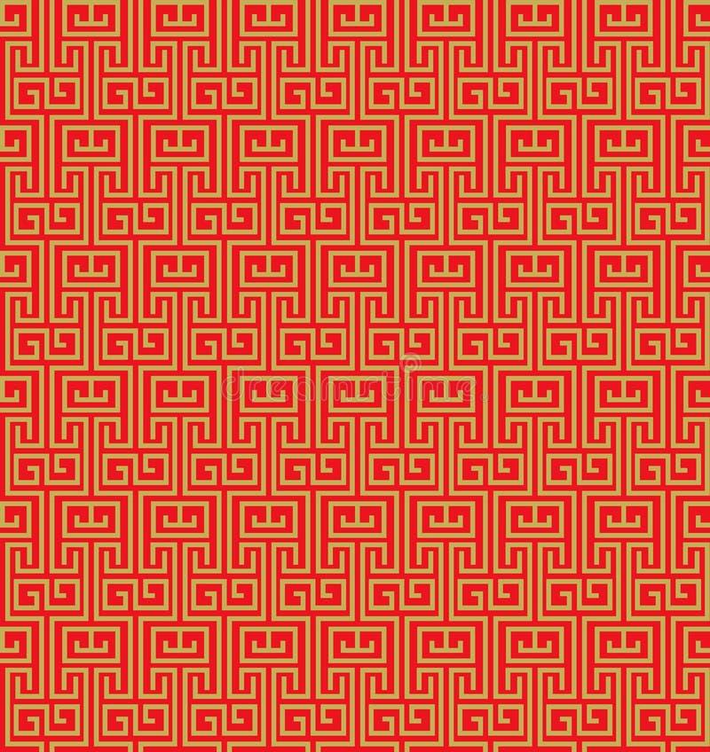 金黄无缝的葡萄酒中国窗口网眼图案样式背景 向量例证